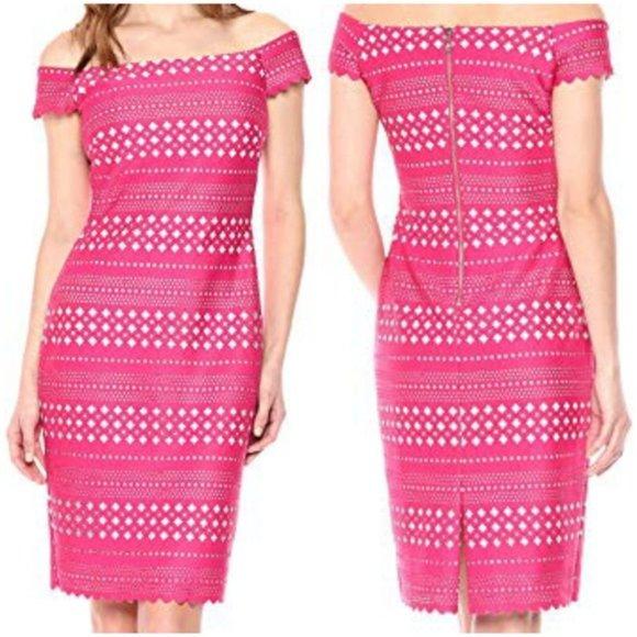 NWT Eliza J Pink Laser Cut Off Shoulder Dress Size 6